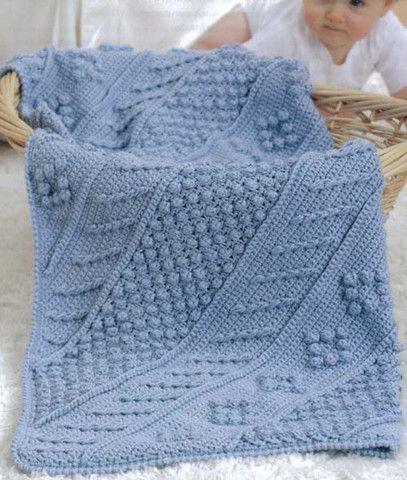 Crochet Aran Baby Blanket Pattern : Babys Diagonal Aran Afghans