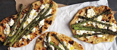 Grilled Asparagus and Ricotta Pizza from Martha Stewart