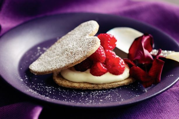Raspberry Mascarpone Heart Sammies Recipe — Dishmaps