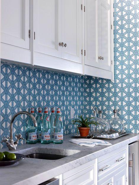 wallpaper backsplash kitchens pinterest