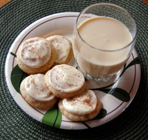 , eggnog cookies, frosted with eggnog icing and sprinkled with nutmeg ...