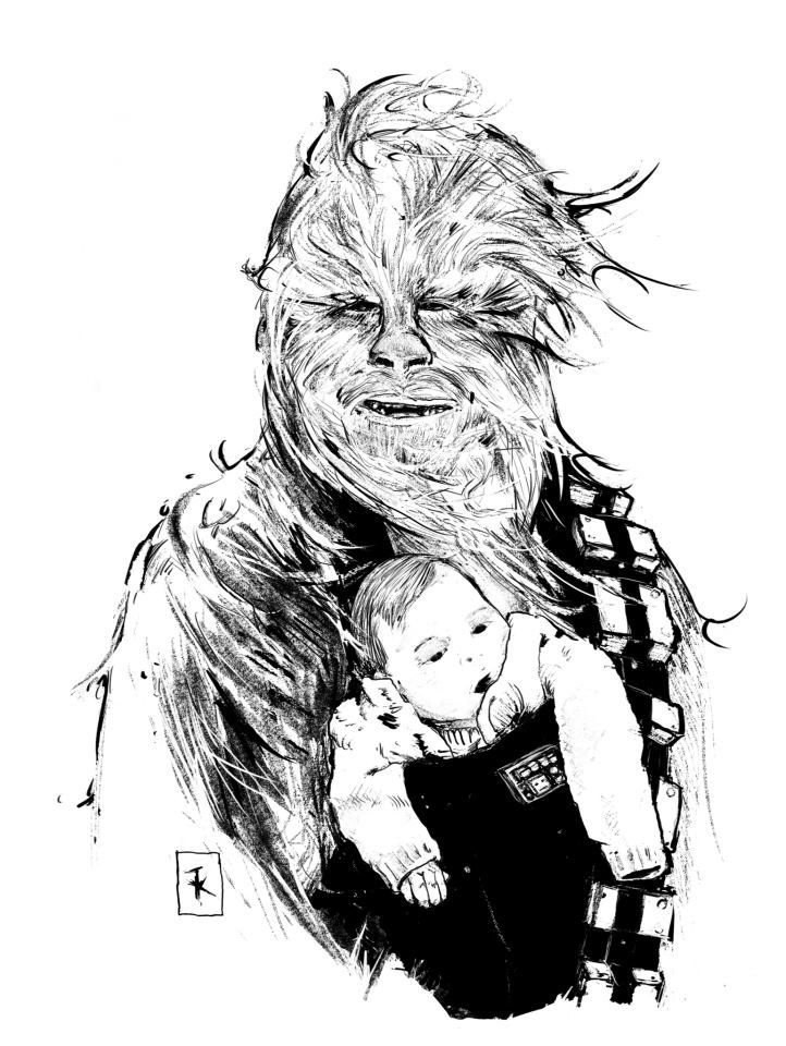 Chewbacca  amp  Baby - Star Wars - Tim KellyBaby Chewbacca Art