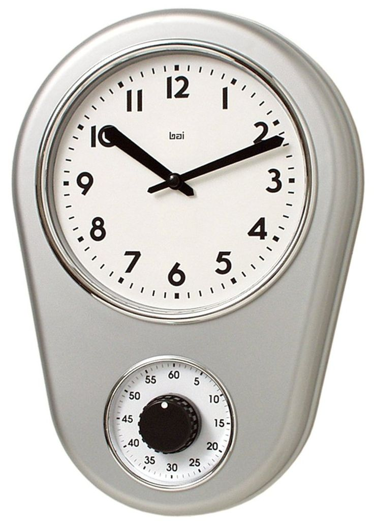 Bai Retro Kitchen Timer Wall Clock, Satin Silver