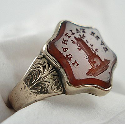 antique 9ct gold carnelian intaglio seal ring faithful