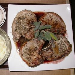 Pork Chops with Raspberry Sauce. Sounds yummy minus the thyme.