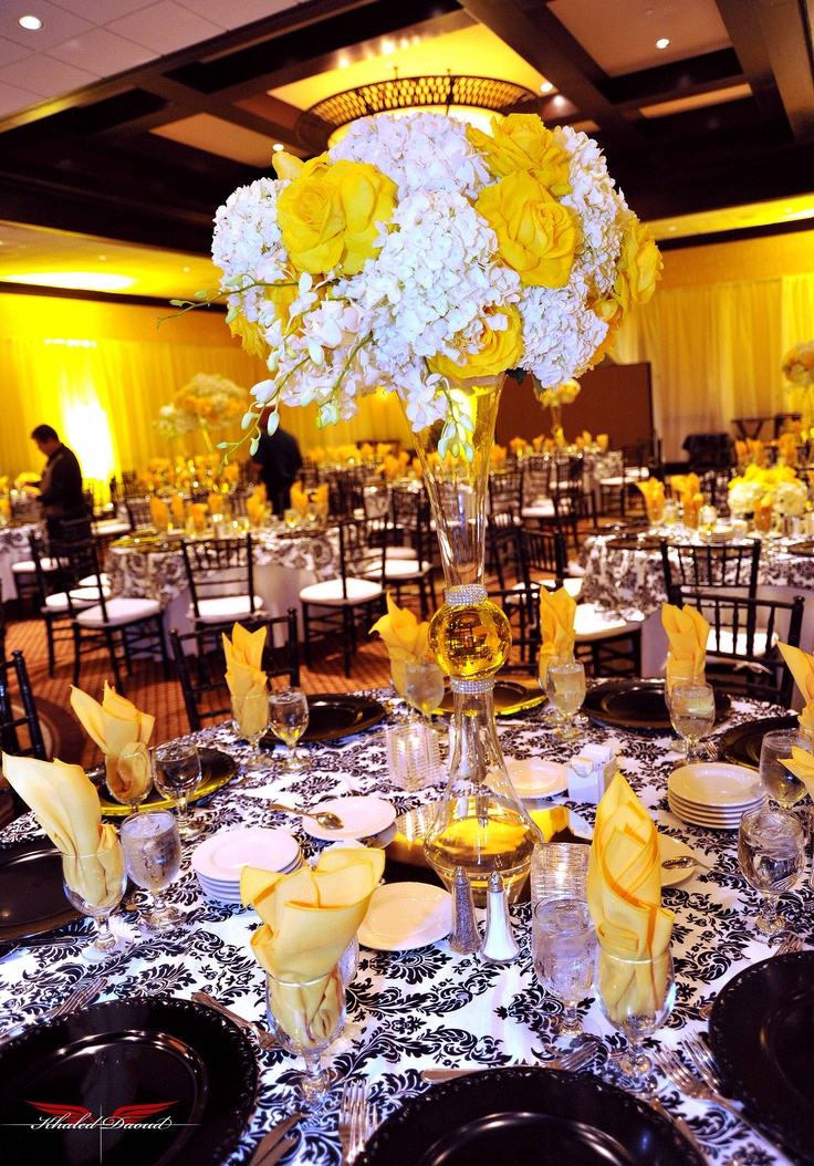 Hydrangeas, Latina Yellow Roses and Orchids