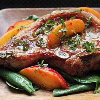 Pork Chops with Fresh Peaches and Basil | Flavors | Pinterest