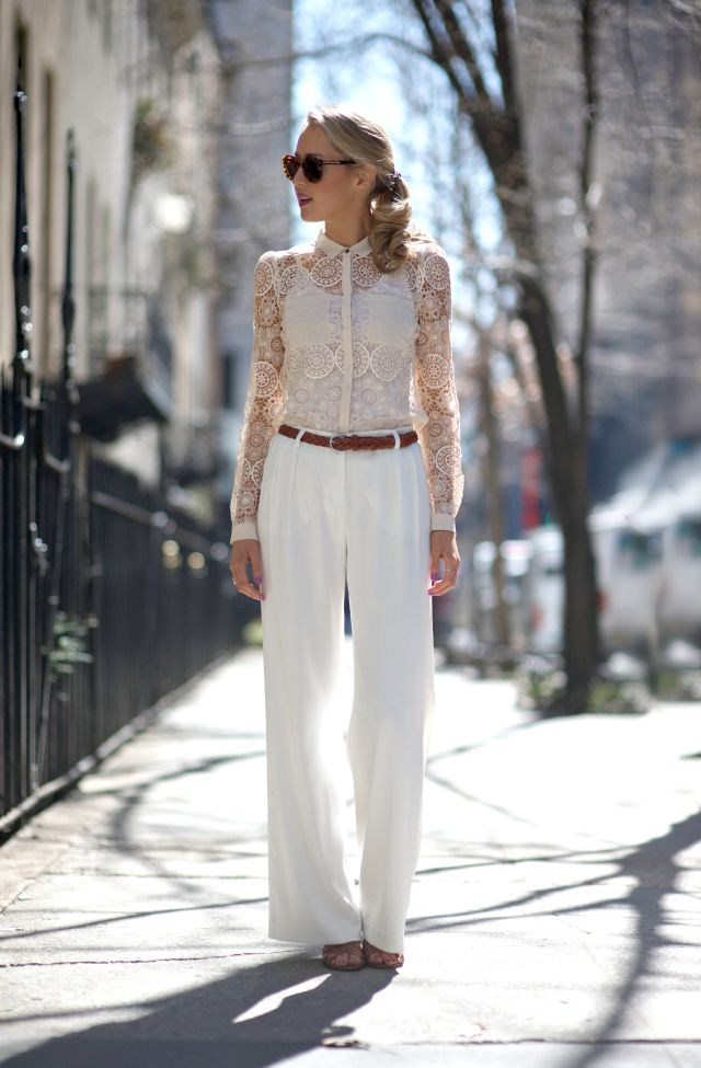 I love the style of this blogger! The Classy Cubicle wearing a total white look.
