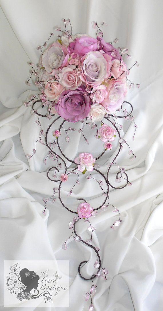 Artificial Rose Crystal Bouquet Venice Wedding Bouquets