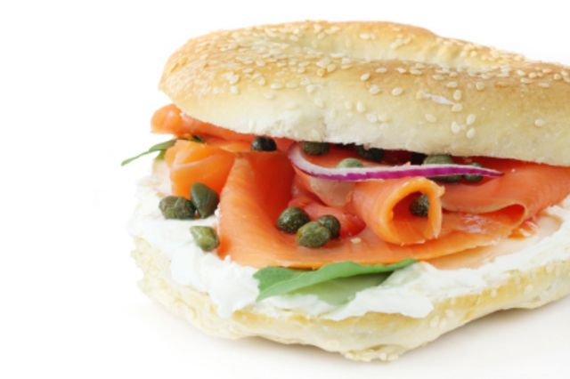 Smoked salmon & cream cheese bagel - Smoked salmon - Cream cheese ...
