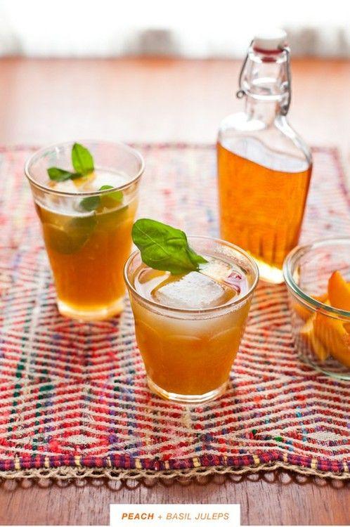 Peach and basil juleps. | Drinks. | Pinterest