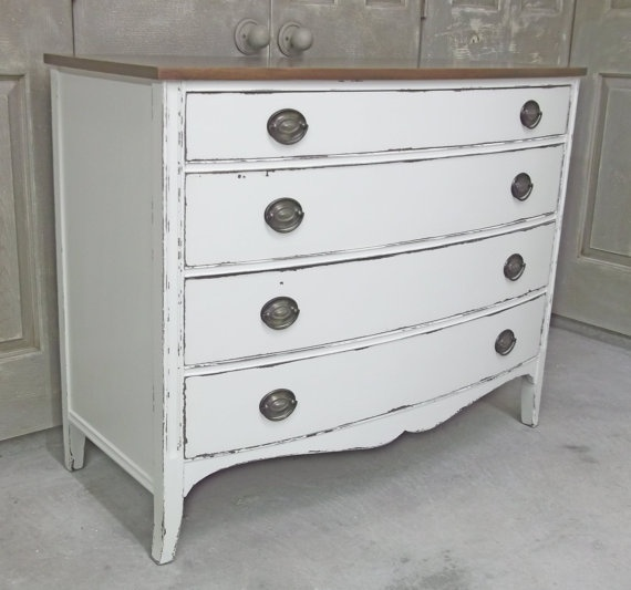 Shabby white vintage federal style dresser chest chic dr407