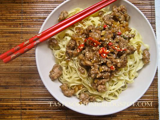 Sesame Pork and Mushrooms Noodles | Noodles and Pasta | Pinterest