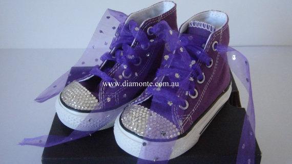 Purple Converse Shoes Featuring Swarovski Crystal by MYDIAMONTE, $99