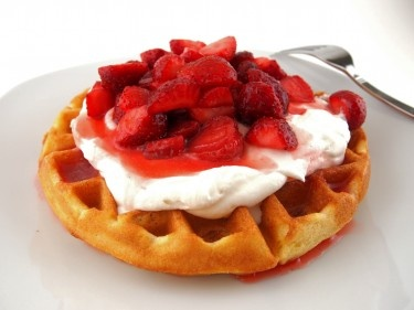 Gluten-Free Lemon Cornmeal Waffles with Strawberry Rhubarb Syrup | Re ...