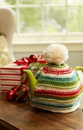 Holiday Teapot Cozy Free Knitting Pattern from Red Heart Yarns