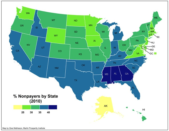 The Geography of the 47% - Nontaxpayers by state
