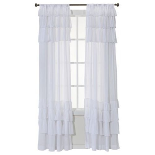 One Simply Shabby Chic White Gauze Ruffle Window Panel Curtain BNIP ...