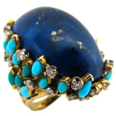 KUTCHINSKY, A Gold, Turquoise and Lapis Cocktail Ring, c1960