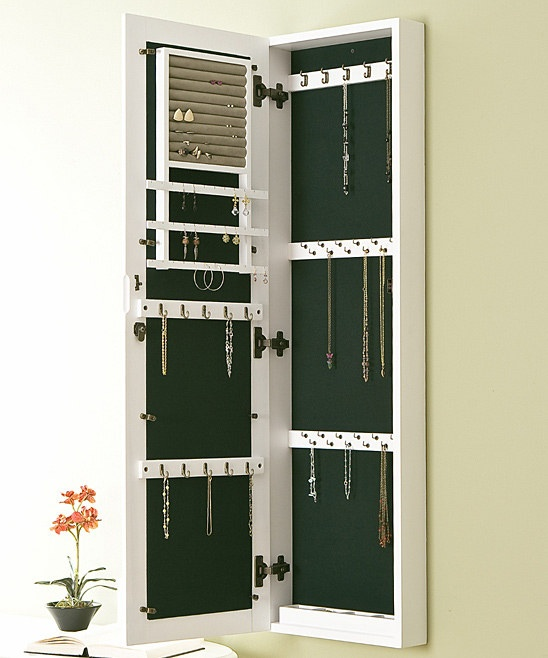 Wall Mount Jewelry Armoire : Southern Enterprises Frosty White Wall-Mounted Jewelry Armoire. (I ...