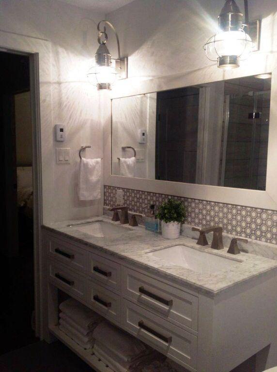 Salle d 39 eau vanit double salle de bain pinterest - Salle de bain vert d eau ...