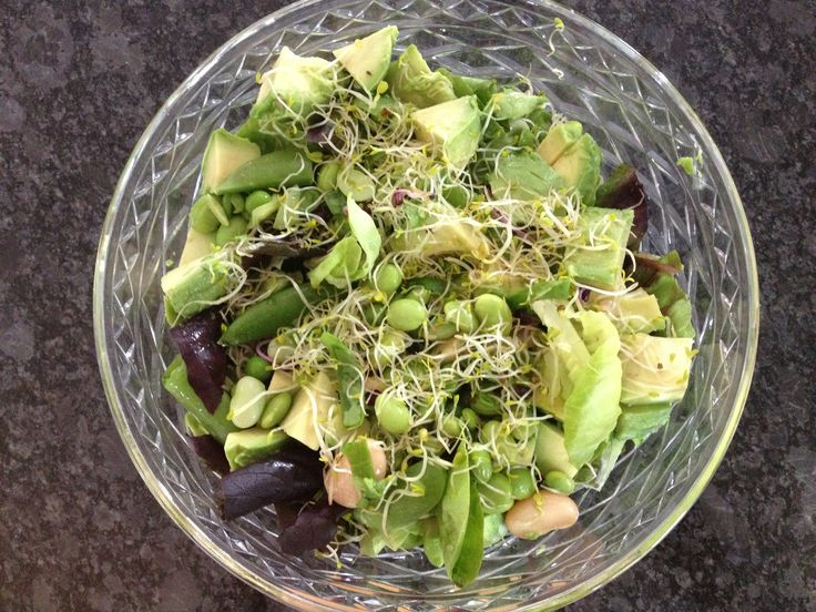 nutritional and delicious. Salad leaves, avocado, shoots, edamame ...