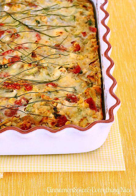 Crustless Zucchini, Corn and Tomato Quiche with Feta | Recipe