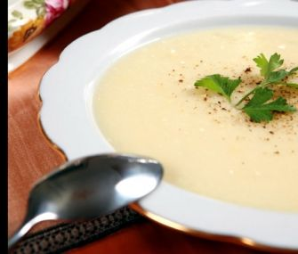 From James Beard Foundation, James Beard's garlic soup.