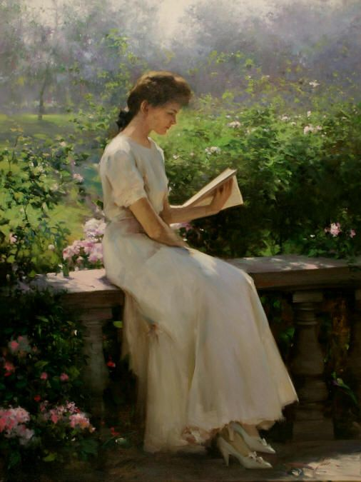 Reading In The Garden Painting Art Beautiful