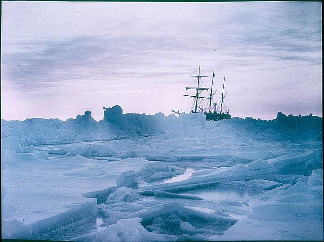 """A mid-winter glow, Weddell Sea showing """"The Endurance"""", 1915,  by Frank Hurley.  For more information and pictures, visit Discover Collections: Hurley's Antarctica on the State Library of NSW's website: http://www.sl.nsw.gov.au/discover_collections/natural_world/antarctica/hurley/index.html  Find more detailed information about this photographic collection:   http://acms.sl.nsw.gov.au/item/itemDetailPaged.aspx?itemID=411964"""