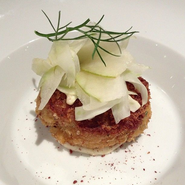 Dungeness Crab Cake with Pear and Fennel slaw. #FoodiesYYC # ...