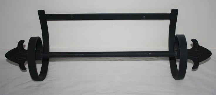 Cast iron hanging towel rack bar fleur di lis finials unbranded - Fleur de lis towel bar ...