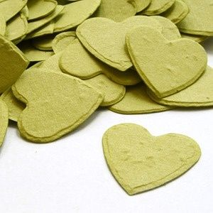 Heart-shaped plantable seed confetti: Biodegradable, Eco-friendly heart packages come in various colors to match wedding color themes!!  Just toss these hearts, and grow beautiful wildflowers!  Such a clever idea!!!