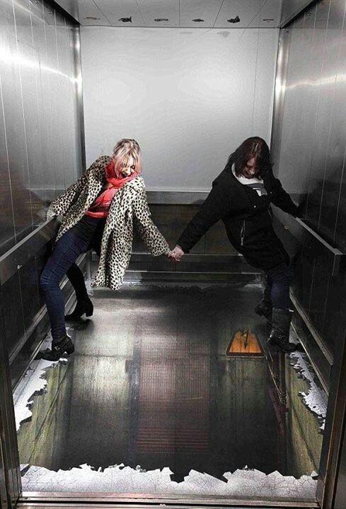 Broken elevator 3d floor art 3 d street floor art for Floor 3d painting