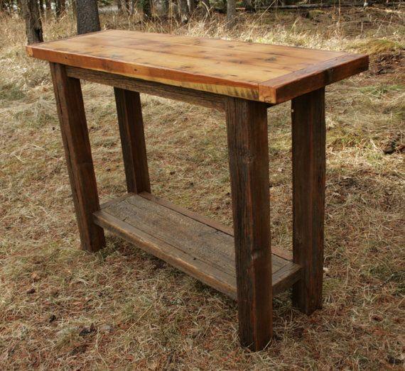 Rustic Reclaimed Barnwood Sofa Table