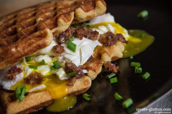Cornmeal Waffles with Bacon Jam and an Egg - I'm in heaven!!