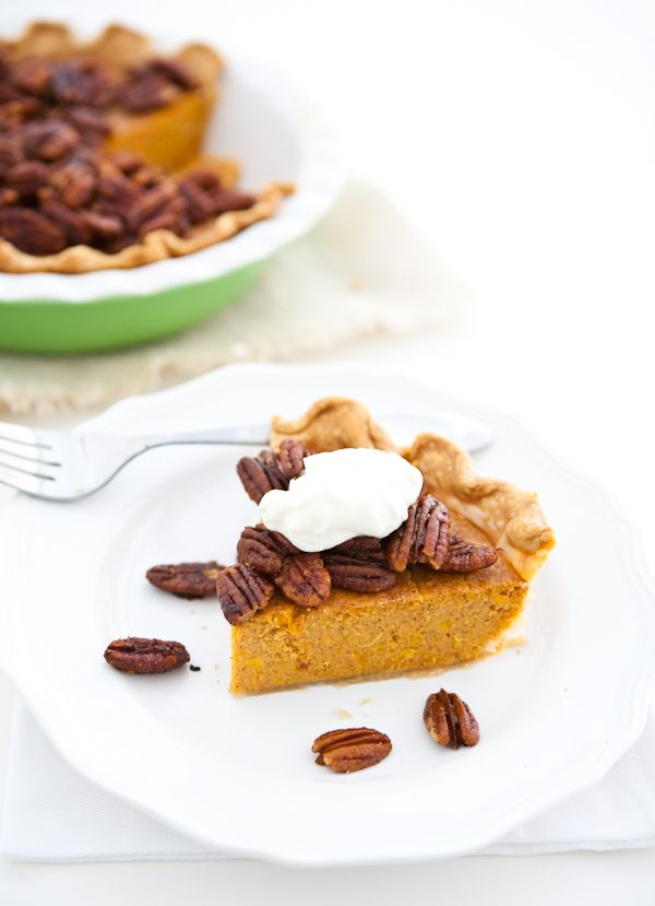 Sweet Potato Pie with Maple Candied Pecans by EclecticRecipes.com # ...