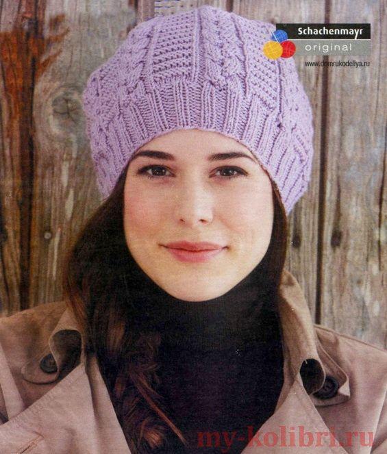 Женская шапочка поперечным вязанием