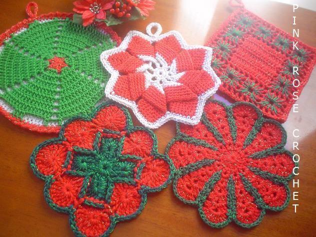 Hot Pads free crochet graph pattern Christmas Pinterest