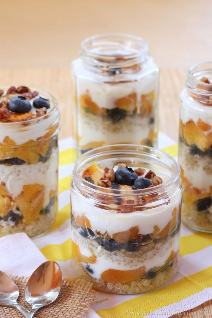 Blueberry and grilled peach quinoa parfaits