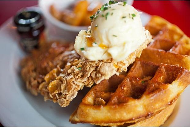 Chicken & Waffles! Cornflake crusted chicken breast, thick, crispy ...
