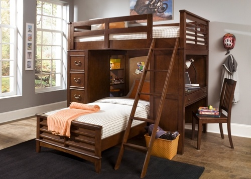 Twin Over Queen Bunk Beds with Desk 500 x 357