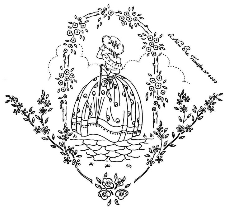 Crinoline Lady embroidery transfer NE4009