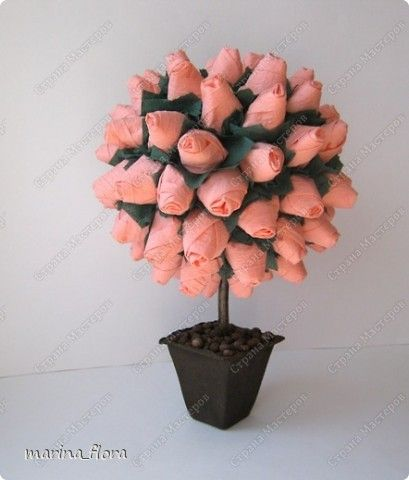 Как сделать из бумаги дерево с розами