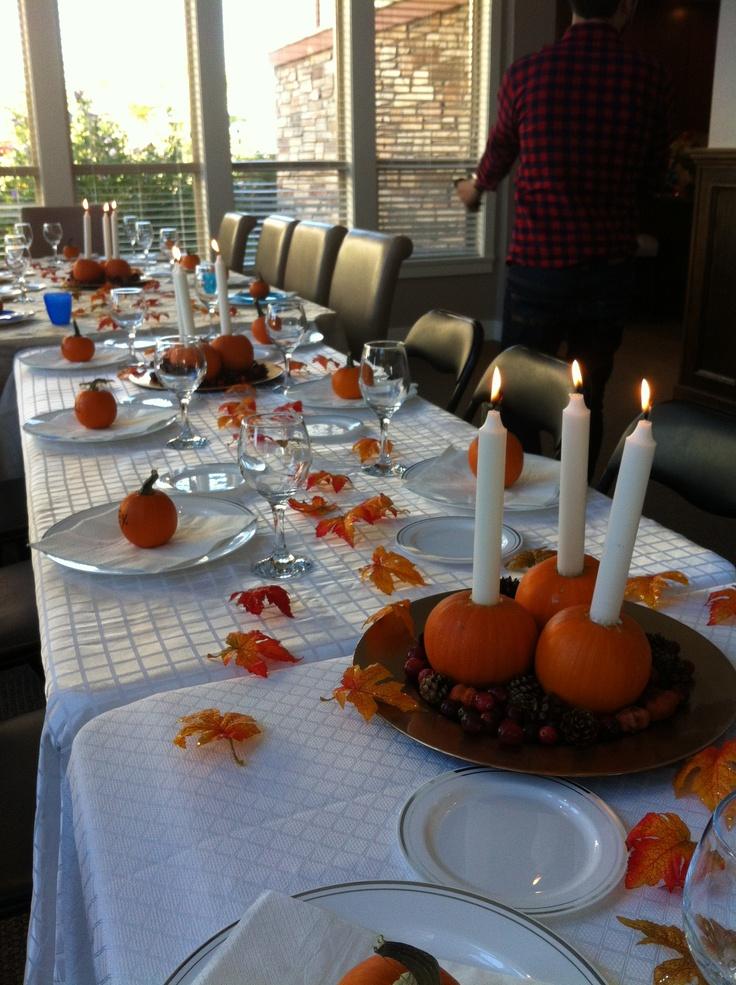 Thanksgiving Holiday Table Decorating Photograph Thanksgiv