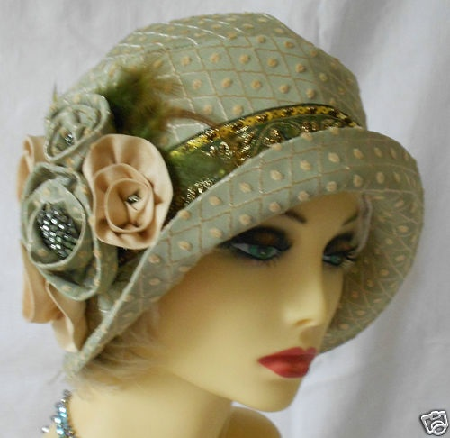 1920s vintage inspired green brocade cloche hat flapper great gatsby