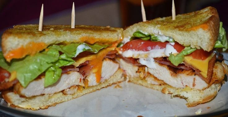 Chicken BLT. This sandwich consists of buttered and lightly garlic ...