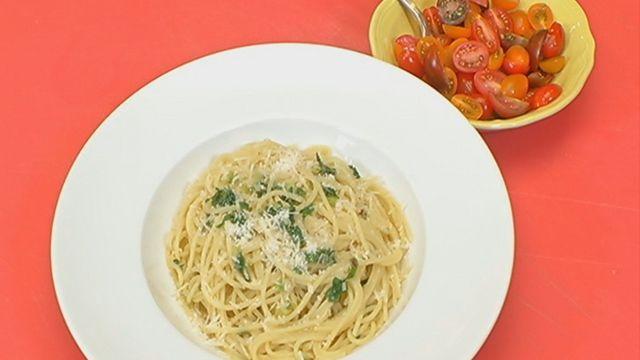 Spaghetti Aglio E Olio with Green Garlic | TWC News Recipes | Pintere ...