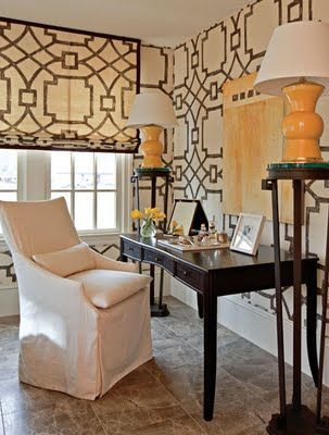 chic office with large scale pattern wall covering and fabric window