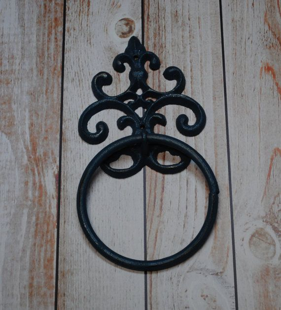 Black hand towel ring fleur de lis holder cast iron towel holder - Fleur de lis towel bar ...